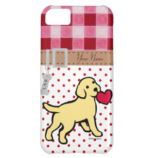 Personalized Yellow Lab Puppy and Red Heart Case For iPhone 5C