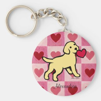 Personalized Yellow Lab Puppy and Red Heart Keychain