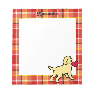 Personalized Yellow Lab Puppy and Red Heart Memo Notepad