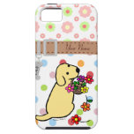 Personalized Yellow Lab Puppy Flowers Cartoon iPhone 5 Case