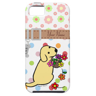 Personalized Yellow Lab Puppy Flowers Cartoon iPhone SE/5/5s Case
