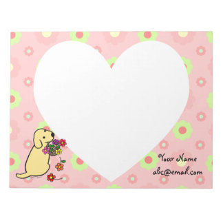 Personalized Yellow Lab Puppy Flowers Cartoon Memo Pad