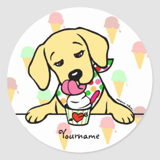 Personalized Yellow Lab Puppy Ice Cream Classic Round Sticker