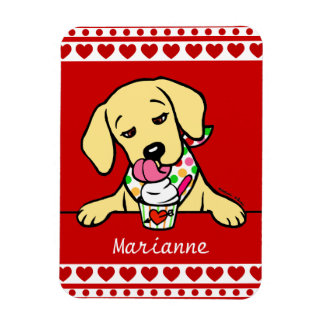 Personalized Yellow Lab Puppy Ice Cream Magnet