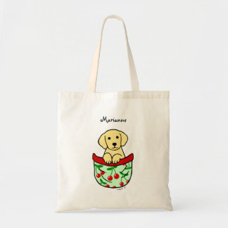 Personalized Yellow Lab Puppy in the Pocket Tote Bag