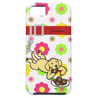 Personalized Yellow Labrador and Doughnuts iPhone SE/5/5s Case
