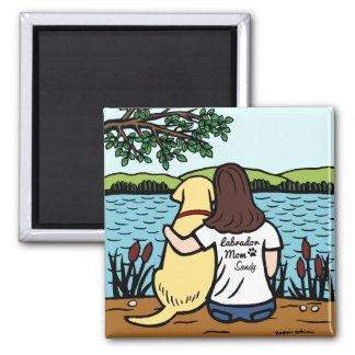Personalized Yellow Labrador and Mom Long 2 Inch Square Magnet