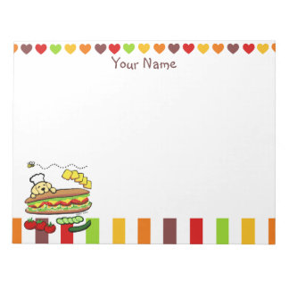 Personalized Yellow Labrador Bakery Cartoon Note Pad