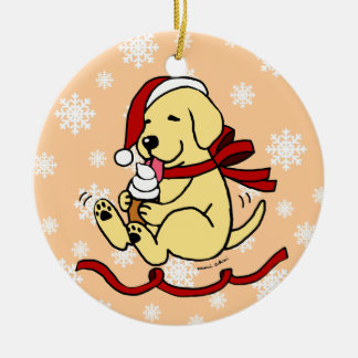 Personalized Yellow Labrador Cartoon Christmas Ceramic Ornament