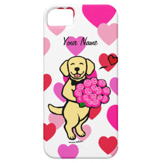 Personalized Yellow Labrador Cartoon Roses iPhone 5 Cover