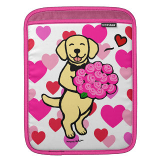 Personalized Yellow Labrador Cartoon Roses iPad Sleeve