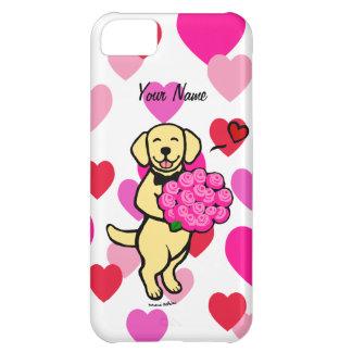 Personalized Yellow Labrador Cartoon Roses iPhone 5C Case