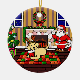 Personalized Yellow Labrador Christmas Cartoon Double-Sided Ceramic Round Christmas Ornament