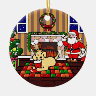 Personalized Yellow Labrador Christmas Cartoon Christmas Tree Ornaments
