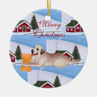 Personalized Yellow Labrador Christmas Ceramic Ornament