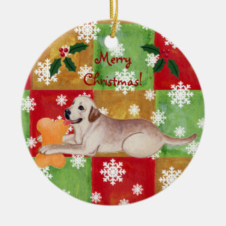 Personalized Yellow Labrador Christmas Mosaic Ceramic Ornament