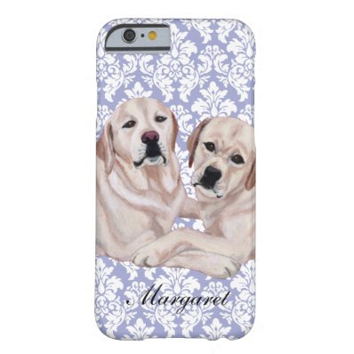 Personalized Yellow Labrador Duo Barely There iPhone 6 Case