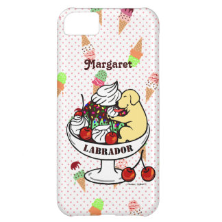 Personalized Yellow Labrador & Ice Cream Sundae Case For iPhone 5C