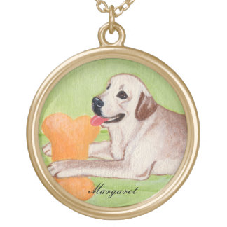 Personalized Yellow Labrador on the Green Couch Round Pendant Necklace