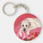 Personalized Yellow Labrador pink couch painting Key Chains