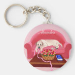 Personalized Yellow Labrador pink couch painting Keychain