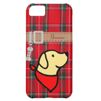 Personalized Yellow Labrador & Scarf Cartoon iPhone 5C Cases