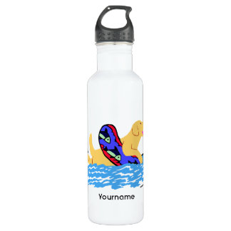 Personalized Yellow Labrador Swimming Water Bottle