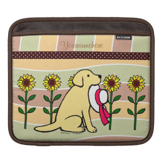 Personalized  Yellow Labrador with Sunflowers iPad Sleeves