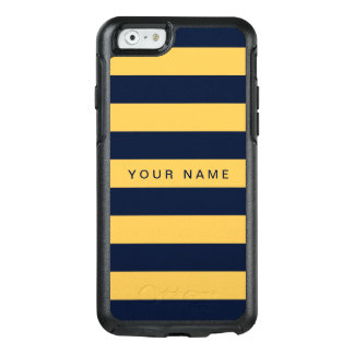 Personalized Yellow & Navy Blue Striped OtterBox iPhone 6/6s Case