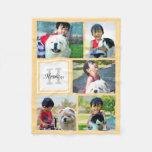 Personalized Yellow Photo Collage Monogrammed Gift Fleece Blanket