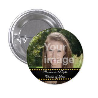 Personalized Yellow Photo Graduation Year Button