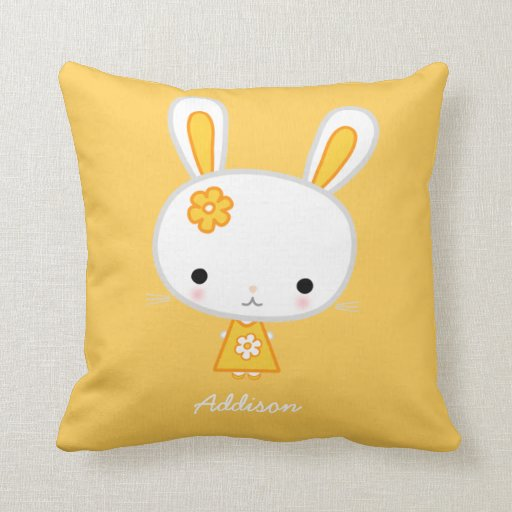 Personalized Yellow Pillows With Cute Kawaii Bunny | Zazzle