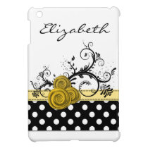personalized yellow polka dots roses Ipad case