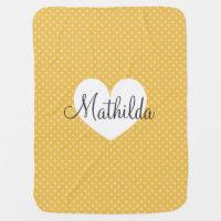 Personalized yellow polkadots pattern baby blanket