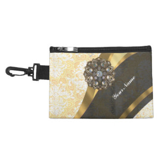 Personalized yellow pretty girly damask pattern accessory bag
