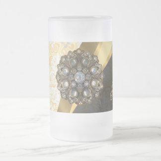 Personalized yellow pretty girly damask pattern frosted glass beer mug