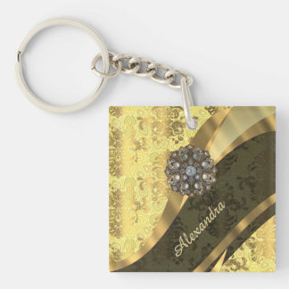 Personalized yellow pretty girly damask pattern Double-Sided square acrylic keychain