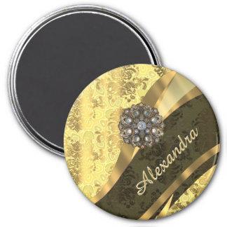Personalized yellow pretty girly damask pattern 3 inch round magnet