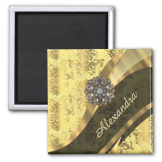 Personalized yellow pretty girly damask pattern 2 inch square magnet