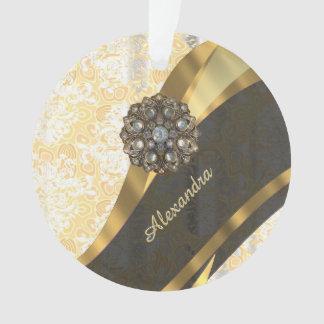 Personalized yellow pretty girly damask pattern ornament