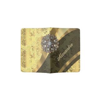 Personalized yellow pretty girly damask pattern passport holder
