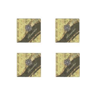 Personalized yellow pretty girly damask pattern stone magnet