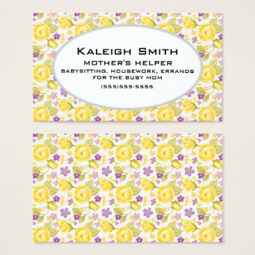 Professional Business Personalized Yellow Purple Floral  Mother's Helper Business Card