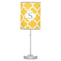 personalized yellow quatrefoil custom monogram table lamp