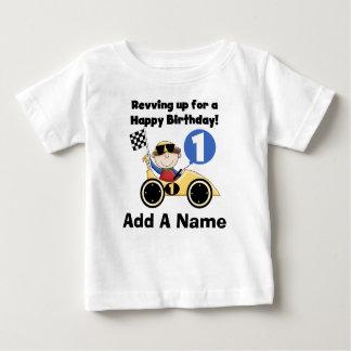 Personalized Yellow Race Car 1st Birthday Tshirt