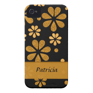 Personalized  Yellow Retro Flowers On Black iPhone 4 Case