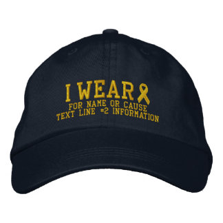 Personalized Yellow Ribbon Awareness Embroidery Cap