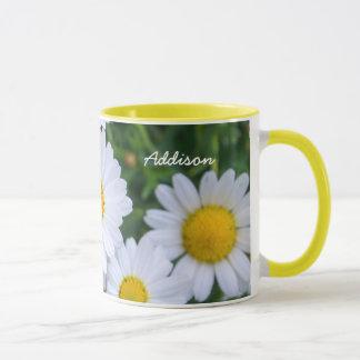 Personalized Yellow Ringer Mug With Daisy