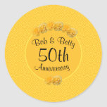Personalized Yellow Rose 50th Anniversary Sticker