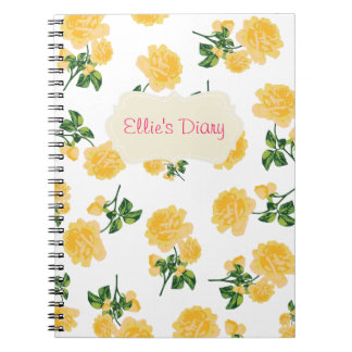 Personalized yellow roses white notebook
